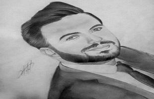 أنامل شربل حلال تبدع في رسم صديق العمر نضال العنداري